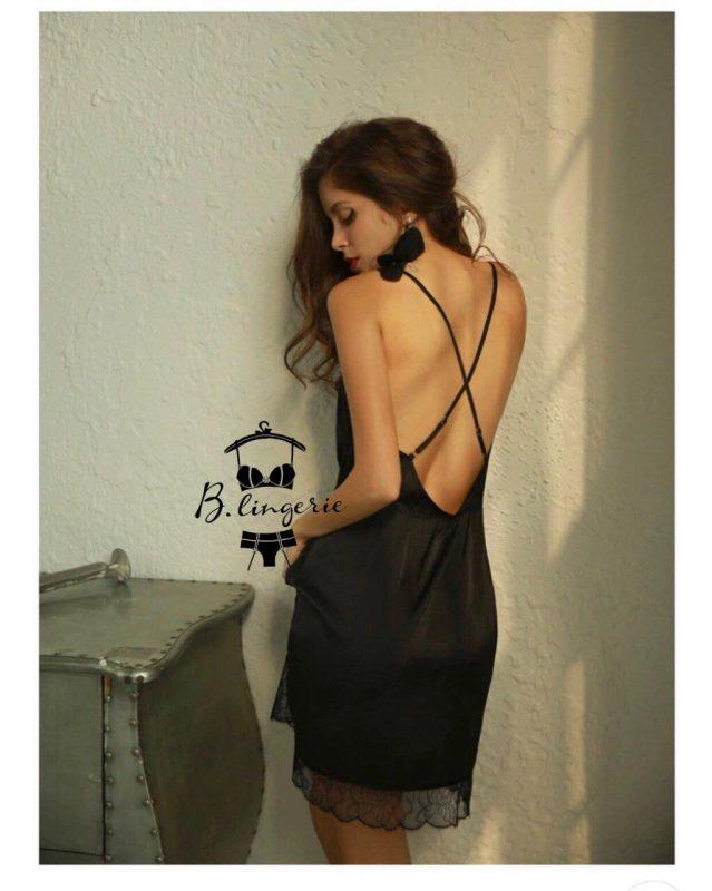 Váy Ngủ Bằng Lụa Satin Cao Cấp - D695