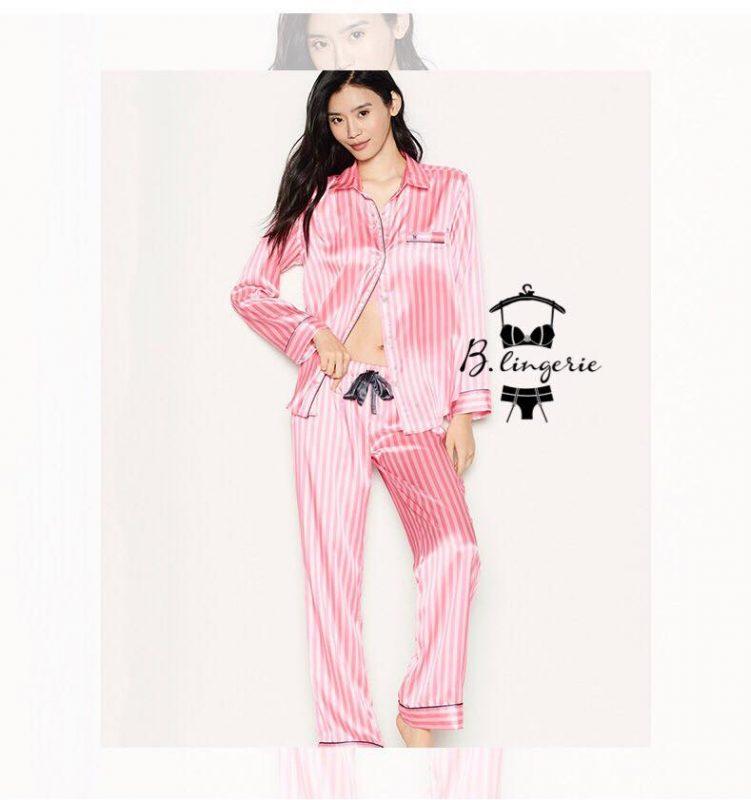 Pijama Satin Sọc Hồng VS - BO625