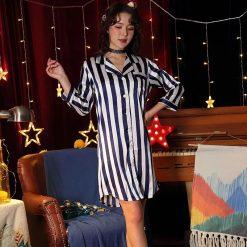 Váy Ngủ Pijama Kẻ Sọc - D590