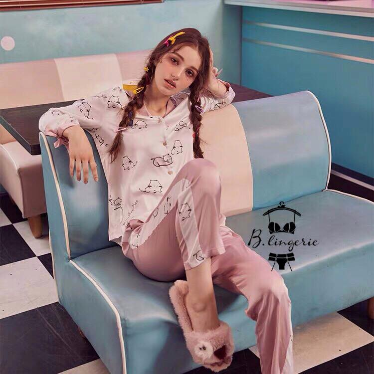 Đồ Bộ Pijama Phi Bóng Mèo Xinh - BO713