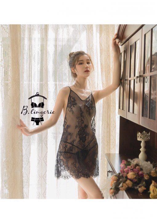 Váy Ngủ Ren Đen Xuyên Thấu