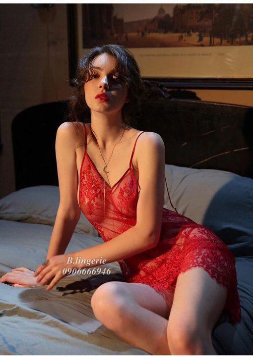 Váy Ngủ Ren Đỏ Xuyên Thấu