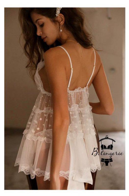 Váy Ngủ Babydoll Trắng - D879