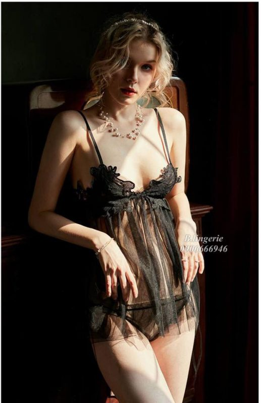 Váy Ngủ Xuyên Thấu Đen - D878