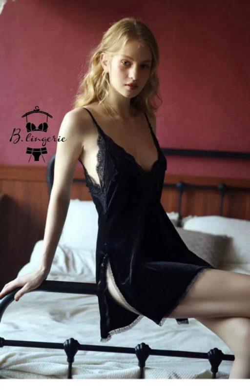 Váy Ngủ Nhung Phối Ren - D091