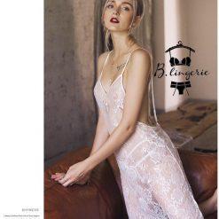 Váy Ngủ Ren Trắng Xuyên Thấu - D632