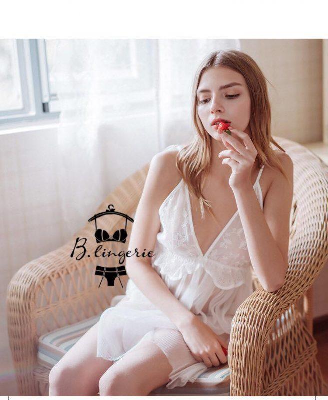 Váy Ngủ Ren Gợi Cảm Trắng - D683