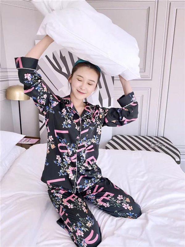 Pijama Lụa Tay Dài Đen - BO860