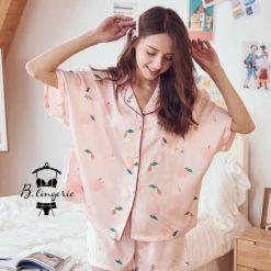 Đồ Pijama Ngắn Quả Đào Hồng