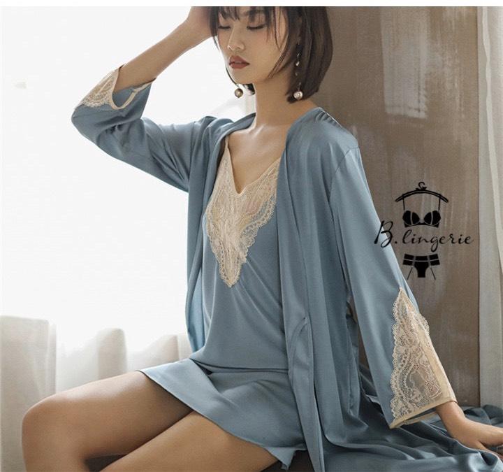 Váy Ngủ Thun Lạnh & Áo Choàng Xanh