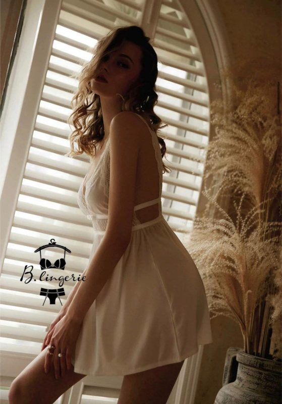 Váy Ngủ Gợi Cảm Cổ Chữ V Đen