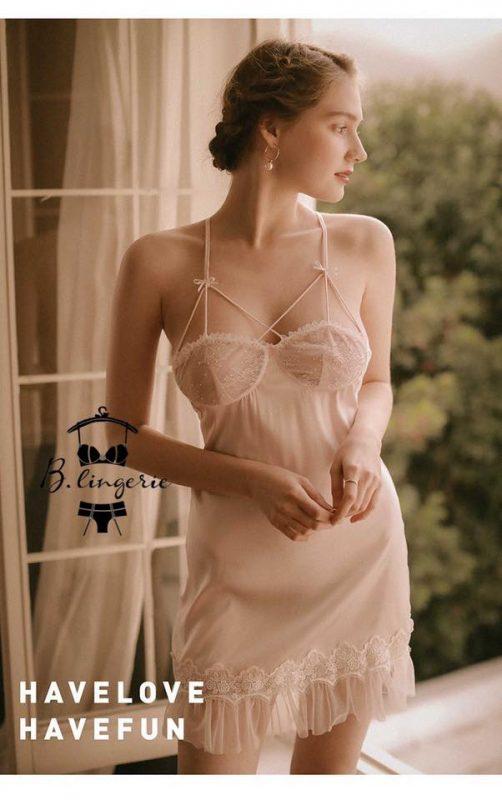 Váy Ngủ Satin Cao Cấp Trắng - D785