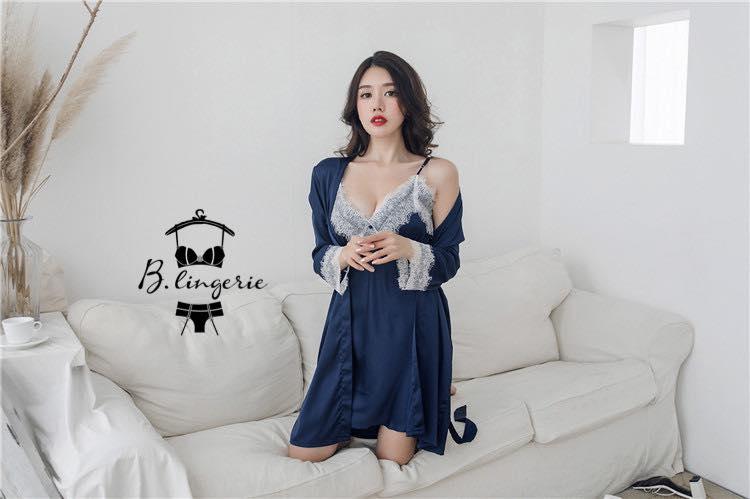 Váy Ngủ Đẹp Gợi Cảm & Áo Choàng Xanh