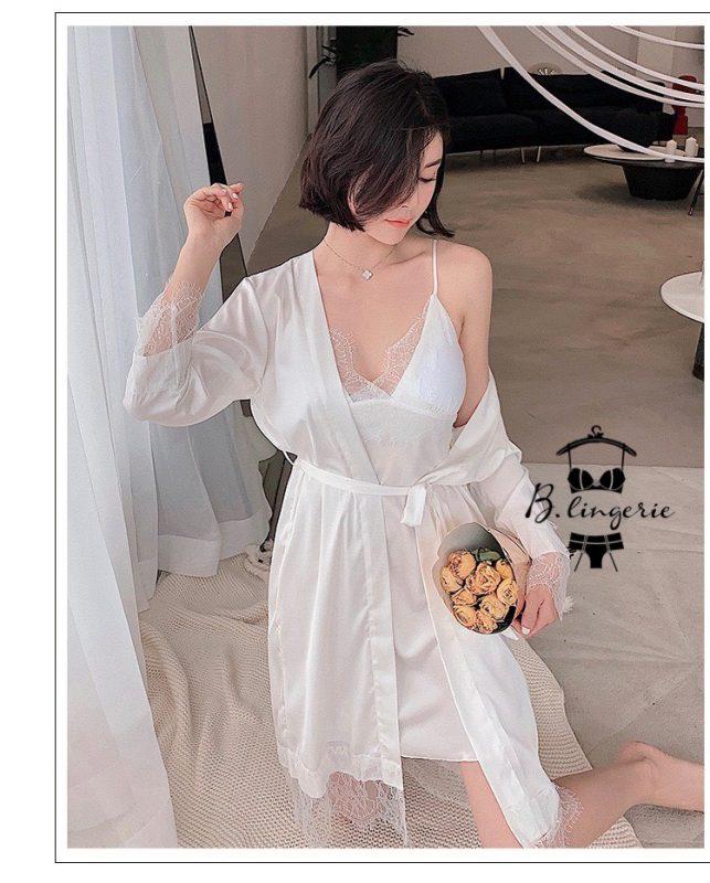 Váy Ngủ Có Áo Choàng Trắng