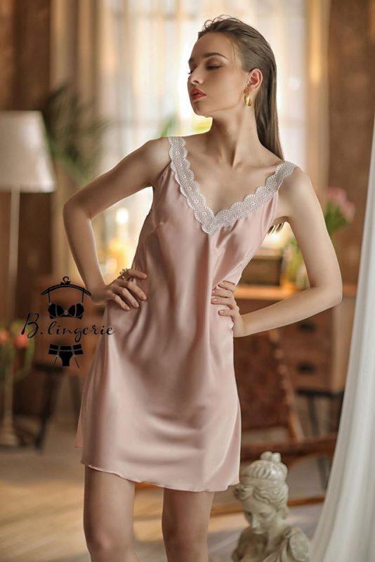 Váy Ngủ Quý Phái & Áo Choàng Hồng