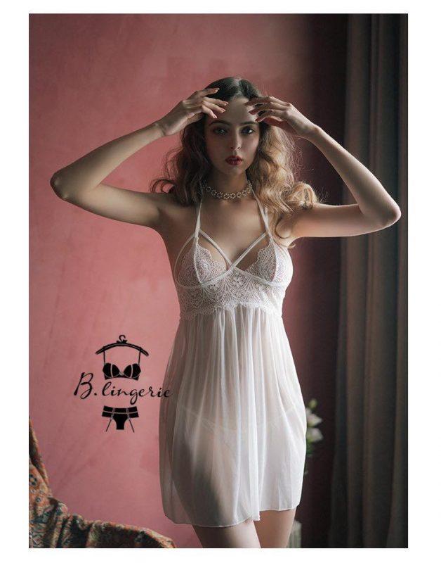 Váy Ngủ Màu Trắng Sang Trọng - D841