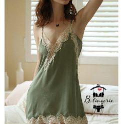Váy Ngủ Hai Dây Đẹp Xanh