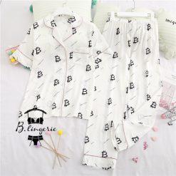 Đồ Ngủ Pijama Lụa Ngắn Tay - BO949