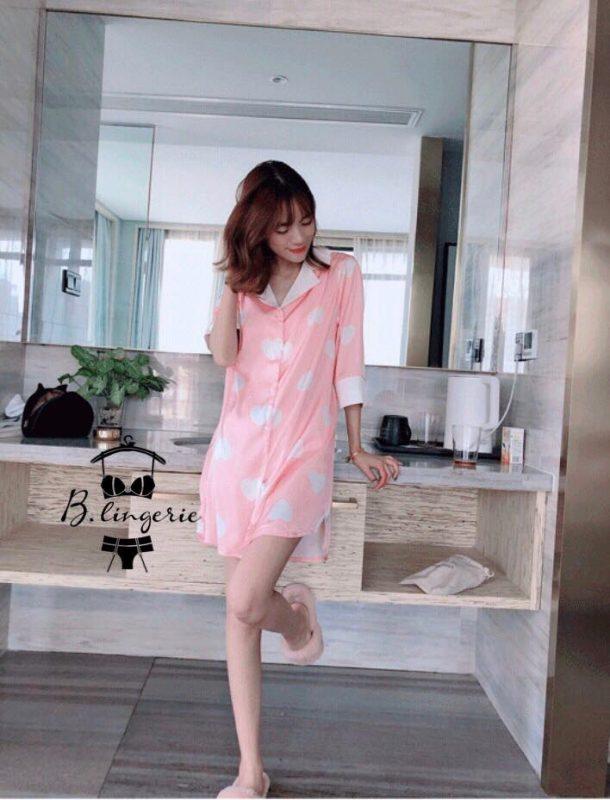 Váy Ngủ Pijama Hồng Trái Tim