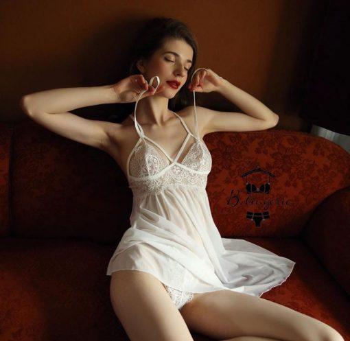 Váy Ngủ Lụa Trắng Sang Trọng - D841