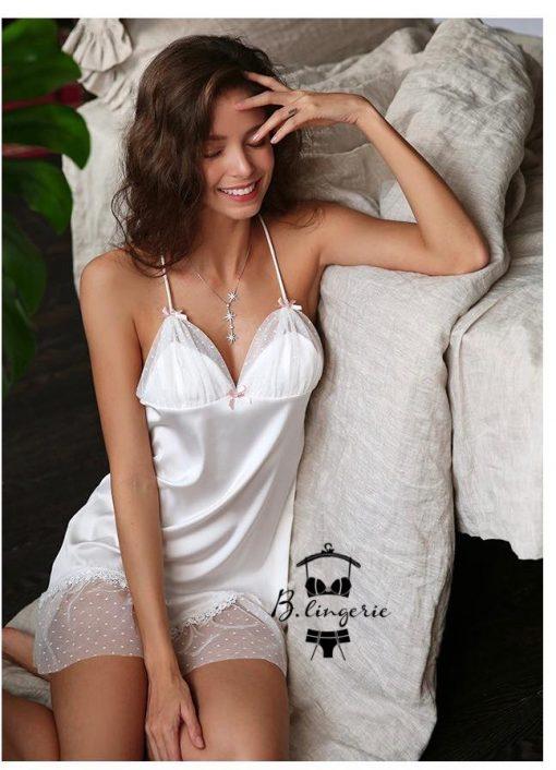 Váy Ngủ Lụa Đẹp Trắng - D889