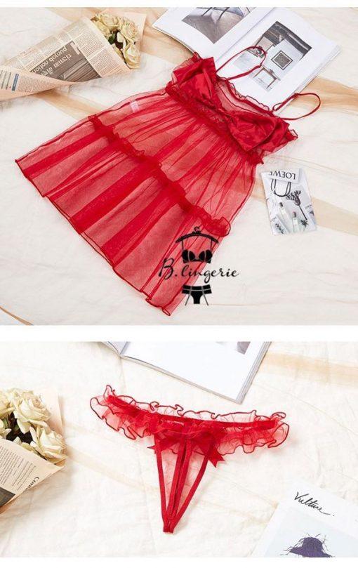 Váy Ngủ Siêu Mỏng Đỏ - D659