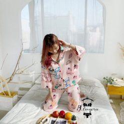 Pijama Tay Dài Quần Dài Dễ Thương