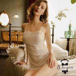 Váy Ngủ 2 Dây Dễ Thương Trắng - D840