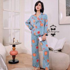 Đồ Ngủ Pijama Nữ Dài Xanh