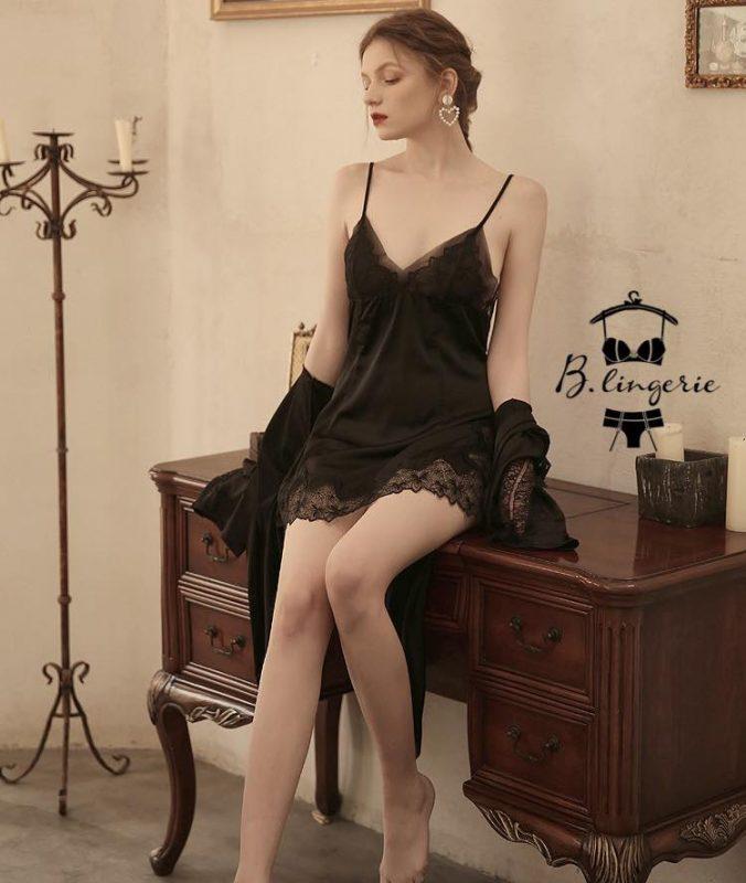 Đầm Ngủ Ren Hoa Đen
