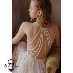 Đầm Ngủ Trắng Ren Hoa