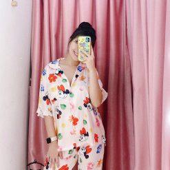 Đồ Ngủ Pijama Phi Lụa Ngắn Tay