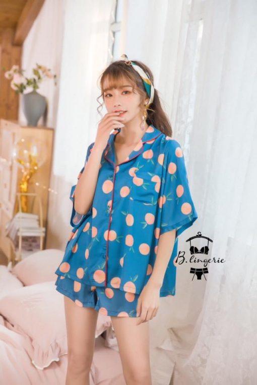 Đồ Pijama Ngắn Quả Đào Xanh