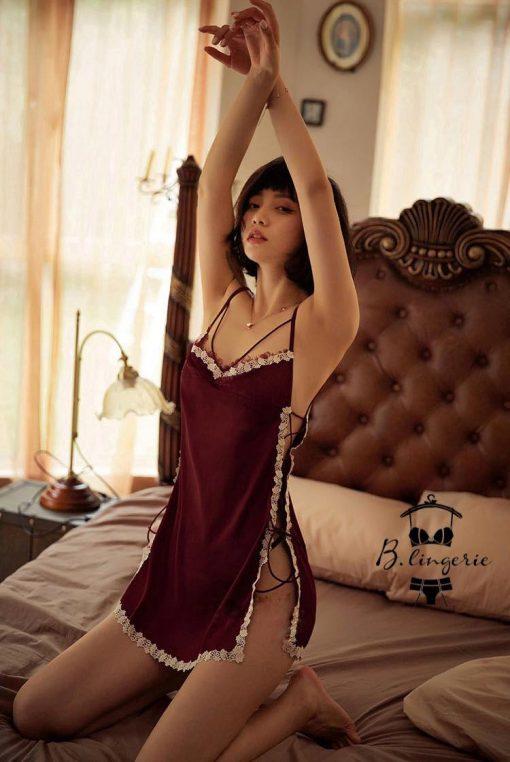 Váy Ngủ Dây Chéo Viền Ren