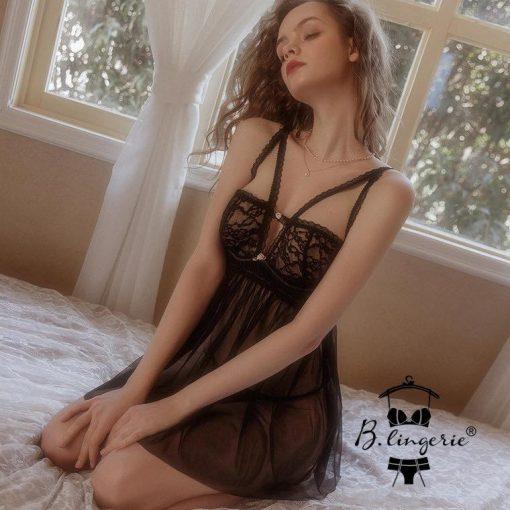 Đầm Ngủ 2 Dây Trong Suốt Blingerie