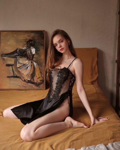 Váy Ngủ Lụa Satin Dài Blingerie