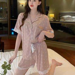 Pijama Nữ Lụa Viền Ren Ngắn
