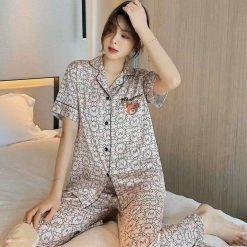 Pijama Gấu Quần Dài Tay Ngắn