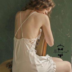 Đầm Ngủ Lụa Satin Hở Lưng Sâu - Blingerie