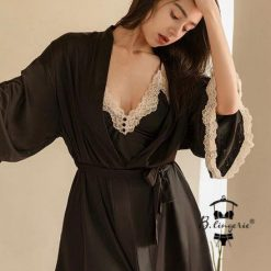 Váy Ngủ Lụa Satin Xẻ Tà - Blingerie